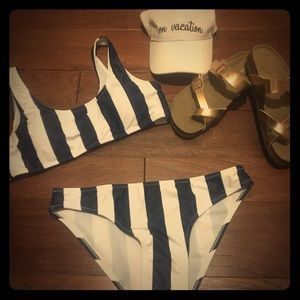 Other - Navy and White Stripped 👙 Bathing Suit-NWT